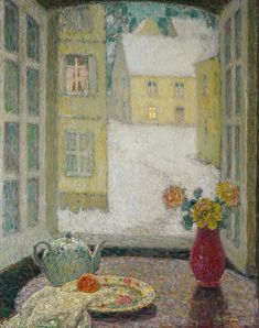 Abstract Painting - Henri Le Sidaner 1862 - 1939 TABLE BEFORE THE WINDOW SNOW by Adam Asar Art Day, Modern Art, Painter, Painting, Snow Art, Painting Reproductions, Art, All Art, French Artists