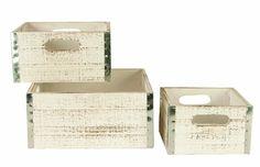 Wald Imports Whitewash Wood Storage Crates (Set of (Whitewash), Grey metal