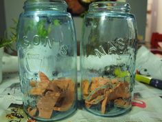 growing herbs in mason jars - with terracotta to soak up extra water.