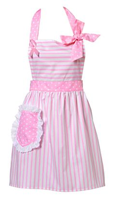 Dorothy Apron Breast Cancer Pink Apron - Need a NEW apron ; Pink Apron, Retro Apron, Aprons Vintage, White Apron, Granny Chic, Cute Aprons, Sewing Aprons, Kitchen Aprons, Everything Pink