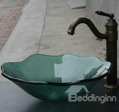 lotus vessel sinks | Lotus Leaf Form Tempered Glass Vessel Sink - beddinginn.com