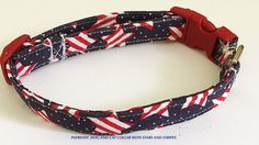 4th of July Dog and Cat Collar with Red, White, & Blue Stars and Stripes