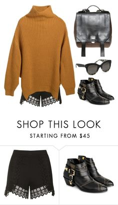 """""""Oversized Sweater & Lace Shorts"""" by junglover ❤ liked on Polyvore featuring Topshop, Anine Bing, KLING, Proenza Schouler and Krewe"""