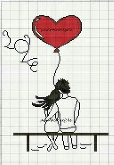 Love couple x-stitch