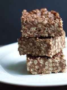 Healthy Chocolate Rice Crispy Treats.  Much healthier than traditional Rice Crispy Treats--lower sugar and all real food ingredients.  My kids LOVE these!