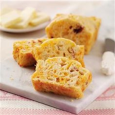 Apple-Bacon Mini Loaves Recipe -I came up with this recipe for a tailgate party at a University of Tennessee football game. The school colors are orange and white, so the cheddar cheese was just the right touch. —Jay Davis, Knoxville, Tennessee