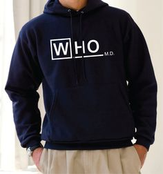 Dr. Who Doctor M.D. Hoodie  - Unisex S M L XL Whovian Sweatshirt Tardis Police Public Call Box