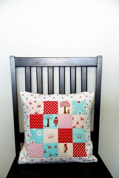 Little Red Riding Hood Patchwork Quilted Pillow Cover by TheCottonShoppe, $32.00