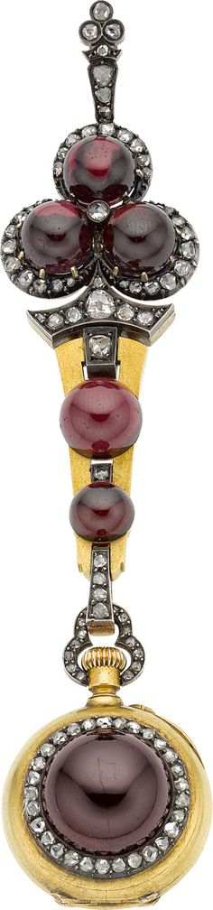 Antique Swiss Garnet, Diamond, Gold, Silver Chatelaine Watch. ... | Lot #55164 | Heritage Auctions