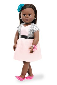 Our Generation Jewelry Doll - Maeva American Girl Clothes, Girl Doll Clothes, Doll Clothes Patterns, Clothing Patterns, Girl Dolls, Baby Dolls, Pink Dress, Flower Girl Dresses, Our Generation Dolls