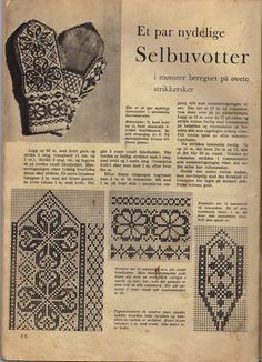 Et par nydelige selvskyende herrer. Knitted Mittens Pattern, Fair Isle Knitting Patterns, Knit Mittens, Knitting Charts, Knitted Gloves, Knitting Stitches, Knitting Needles, Crochet Patterns, Norwegian Knitting