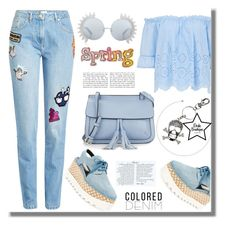 """""""Spring Trend: Colored Denim"""" by samra-bv ❤ liked on Polyvore featuring Kenzo, STELLA McCARTNEY, Linda Farrow and KC Jagger"""