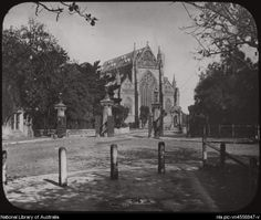 Mary's Cathedral, from Hyde Park, Sydney, [transparency] Sydney City, Old Churches, Hyde Park, Historical Photos, Black And White Photography, Old Photos, Cathedral, Heartland, South Wales