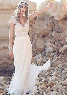 On Sale! 2016 Wedding Dress With V Neck A Line Sweep Train Chiffon Ruffles Beads Rhinestones Bohemian Wedding Dress #dl10012 Modified A Line Wedding Dress Online Wedding Gowns From Dorasbridal, $120.61| Dhgate.Com