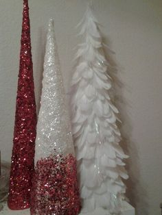 Glitter and feather tree's.