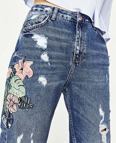 HIGH-RISE EMBROIDERED MOM FIT JEANS-View All-JEANS-TRF | ZARA United States