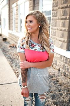Coral Pink Colorblock Floral Tee, spring, obsessed, on trend, outfit inspiration