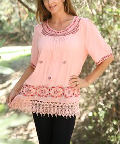 Look at this Coral Geo Scoop Neck Tunic - Women on #zulily today!