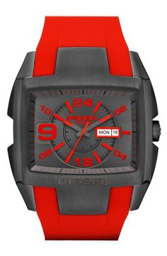 DIESEL® Advanced Leather Strap Watch, 54mm x 49mm available at #Nordstrom
