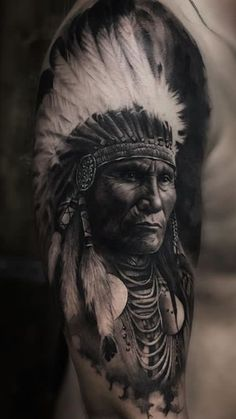 25 Mind-blowing Portrait Tattoos For Men Body Placement Tips Indian Chief Tattoo, Native Indian Tattoos, Indian Girl Tattoos, Indian Skull Tattoos, Native American Tattoos, Native American Artwork, Indian Head Tattoo, Indian Headdress Tattoo, Head Tattoos