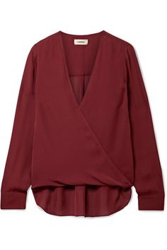 L'Agence Kyla Draped Blouse in malbec. Hidden single-snap closure at neckline Surplice V-neck Long sleeves with single-button cuffs silk Dry clean Imported True to size The Curated Closet, Silk Crepe, Top Designer Brands, Fashion Sketches, Fashion Online, Fashion Outfits, How To Wear, Fashion Design, Clothes