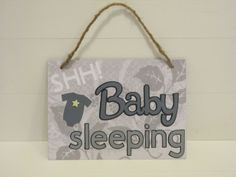 SHH Baby Sleeping Door or Wall Hanging in Grey and White by withloveruthiebug, $10.00