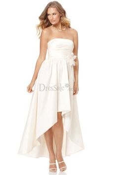 Engrossing White Bridesmaid Dress with Asymmetrical Hem