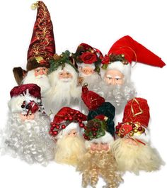 "Lot 8 Santa Ornaments Father Christmas Tree Holly Red Gold White 6"" 7"" Head Face"