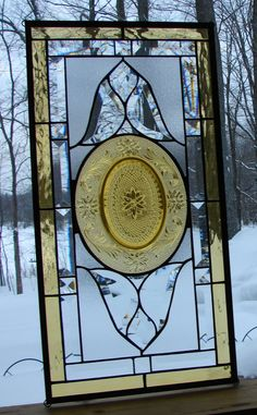 Golden bevel stained glass window panel by Barbarasstainedglass, $175.00~ 11 x 22
