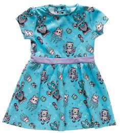 SOURPUSS KITTENS OF THE SEA KIDS DRESS - The queen of whimsy, Miss Mimsy Gleason, has done it again with this incredibly adorable Kittens of the Sea artwork! It's the perfect match for our kids dresses, with a kitten mermaid, an octo-puss and all the kitty fishies you can imagine! This cute dress has snaps at the back neck for ease of wear and is made from a stretchy, easy to wash poly spandex blend.