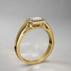 1 ctw Bezel Set Emerald Cut Diamond Engagement Ring in 14k Yellow Gold