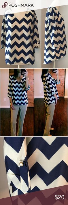 """41Hawthorn High-Low Top M Never worn! 41Hawthorn Chevron Striped High-Low Top. Size M. Navy Blue/White. 100% Polyester. 1/2 cuffed sleeves.  Length: front 24"""" - back 28"""" Bust: 20"""" measured flat 41Hawthorn Tops Blouses"""