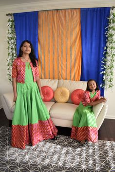 Indian Ethnic Wear Kids Long Dress, Kids Dress Wear, Kids Gown, Mommy Daughter Dresses, Mother Daughter Dresses Matching, Dresses Kids Girl, Kids Indian Wear, Kids Ethnic Wear, Indian Ethnic Wear