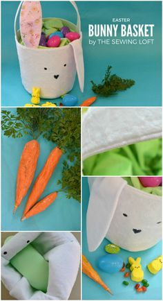 Here's an idea! Skip the wicker basket this year and tuck your colored eggs and gifts into this cute Easter Bunny Basket. The easy DIY tutorial will walk you through the steps and it includes a FREE sewing pattern. Easy Diy Crafts, Fun Crafts, Sewing For Kids, Diy For Kids, Sewing Patterns Free, Free Pattern, Free Sewing, Sewing Toys, Cute Easter Bunny