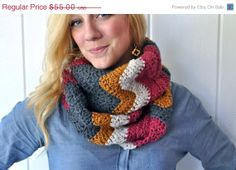 ON SALE  20 OFF Chevron Crochet Infinity Scarf  by theComfyTimes, $44.00