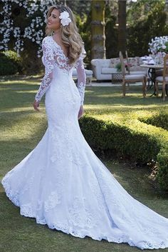 Mermaid Bride Dresses, Mermaid Wedding Dress With Sleeves, Long Sleeve Wedding, Boho Wedding Dress, Lace Mermaid, Lace Wedding, Modest Wedding, Wedding Bells, Wedding Dress Trumpet