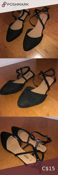 Black strappy sandals • size 9 strappy sandals • worn once Ardene Shoes Flats & Loafers Striped Shoes, Black Slip On Shoes, Black Flats, White Ballet Flats, Sparkly Flats, Grey Loafers, Brown Flats, Pointed Toe Flats, Strappy Sandals