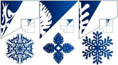 готовая снежинка и схема рисунка для ее вырезания, вариант 5