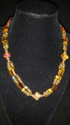 Gold, Orange, and Champagne Crystal Beaded Necklace by KarinsForgottenTreas on…