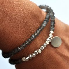Silver Gemstone Beaded Bracelet