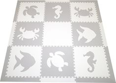 SoftTiles Sea Animals Set with Borders Light Gray and White