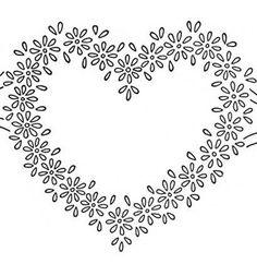 Daisy Heart Border Embroidery Transfer Pattern
