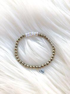 Custom Name Bracelets – Madison+Barrett Name Bracelet, Block Lettering, Sterling Silver, Beads, Bracelets, Gold, Jewelry, Beading, Bead