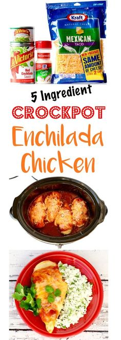 Crockpot Mexican Chicken Recipe!  This EASY Crock Pot Enchilada Chicken is just 5 ingredients, and packed with delicious flavor!  Add it to your menu this week! | TheFrugalGirls.com