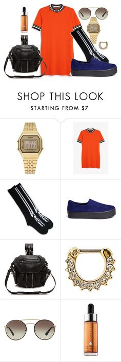 """""""the weekend"""" by pamelacoronaballet ❤ liked on Polyvore featuring Casio, Monki, Opening Ceremony, Alexander Wang, Target, Prada and Cover FX"""