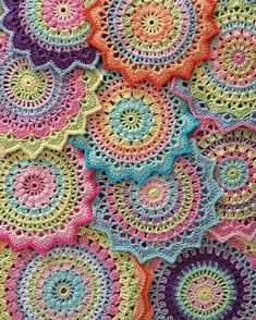 """""""This is #my_craftastherapy  Crocheting mandalas for me is very relaxing and a good way to clear the mind. Love to combine the colors and test new color…"""""""