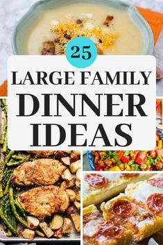 These large family dinner ideas will make cooking for a crowd easy! Meals with simple ingredients and easy directions so you can get it on the table (and devoured!) in no time! meals simple 25 Large Family Dinner Ideas That Will Be Favorites In No Time Easy Family Dinners, Cheap Dinners, Easy Large Group Meals, Family Dinner Ideas, Cheap Large Family Meals, Meals For Large Families, Inexpensive Meals, Dinner Ideas For Guests, Good Dinner Ideas