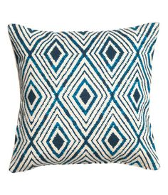 Patterned Cushion Cover | Nat. white/Dk. blue | Home | H&M US