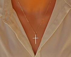 Elegant Cross necklace- gold filled, long large skinny cross necklace simple, mothers day gift ideas for her mom daughter sister wife - accessories - jewelry Cute Jewelry, Gold Jewelry, Jewelry Accessories, Jewelry Necklaces, Women Jewelry, Cross Necklaces, Cross Jewelry, Etsy Jewelry, Gothic Jewelry