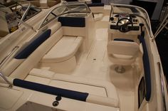 The cockpit area of the Bayliner Element while at the New York Boat Show recently.